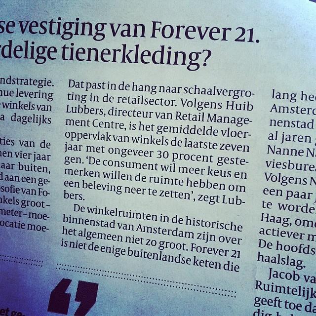 Huib Lubbers over de opening van Forever 21 @Volkskrant